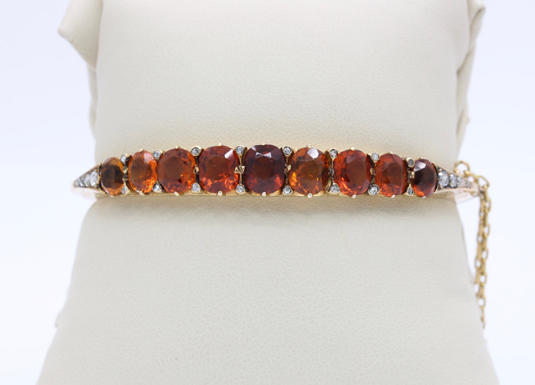Victorian Citrine and Rose Cut Diamond 14K Gold Bangle