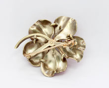 Load image into Gallery viewer, Large Art Nouveau Pink Enamel and Pearl 14K Gold Large Flower Pin