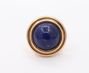 Victorian 18K Gold and Large Lapis Lazuli Statement Ring - alpha-omega-jewelry