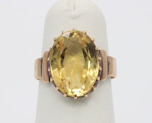 Antique Citrine and 14K Gold Solitaire Ring