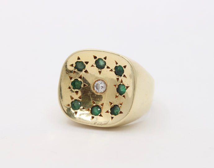 1970s Emerald and Diamond 18K Gold Concave Style Statement Ring - alpha-omega-jewelry