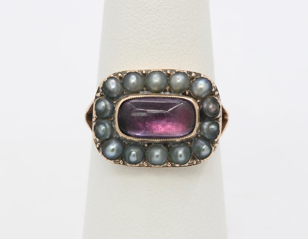 Victorian Closed Back Garnet and Split Pearl 10K Gold Mourning Ring