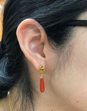 Load image into Gallery viewer, Vintage 14K Gold Dragon and Oxblood Coral Drop Earrings - alpha-omega-jewelry