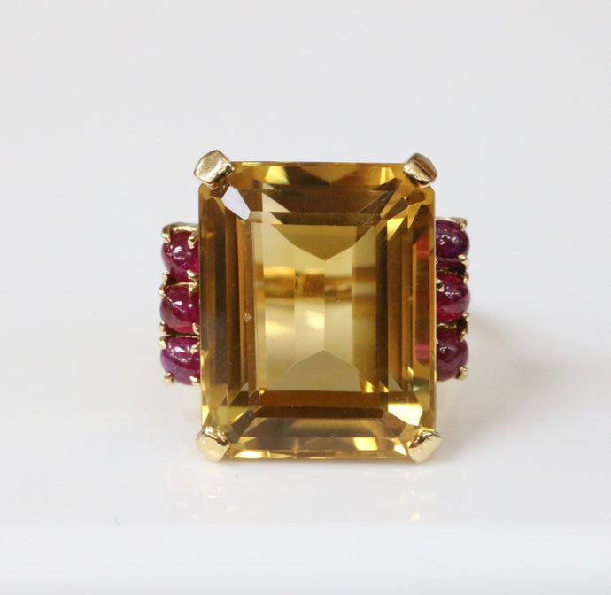 Midcentury 25 Carat Citrine and Natural Ruby 14K Gold Cocktail Ring