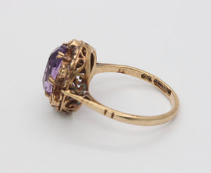 Vintage English 9K Gold and Amethyst Flower Ring