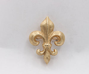 Antique 14K Gold Fleur De Lis Watch Fob Pin - alpha-omega-jewelry