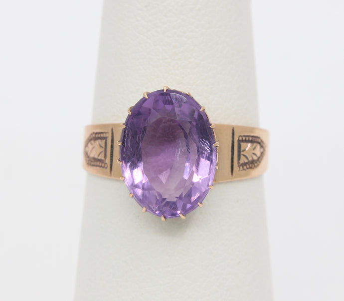 Simple Victorian 10K Gold and Amethyst Ring