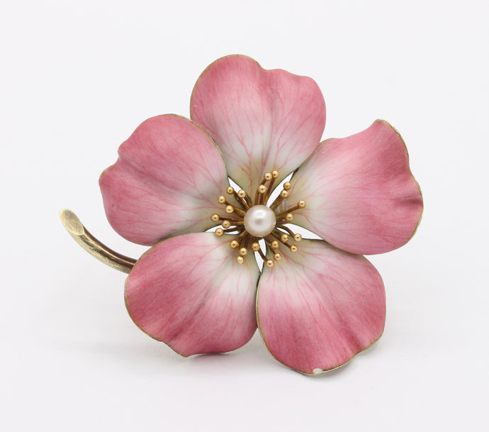 Large Art Nouveau Pink Enamel and Pearl 14K Gold Large Flower Pin