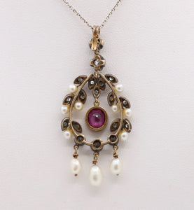 Vintage French Natural Ruby Diamond and Pearl Drop 18K and Silver Pendant
