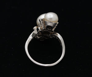 Antique GIA Certified Natural Saltwater Pearl and Diamond Platinum Ring - alpha-omega-jewelry