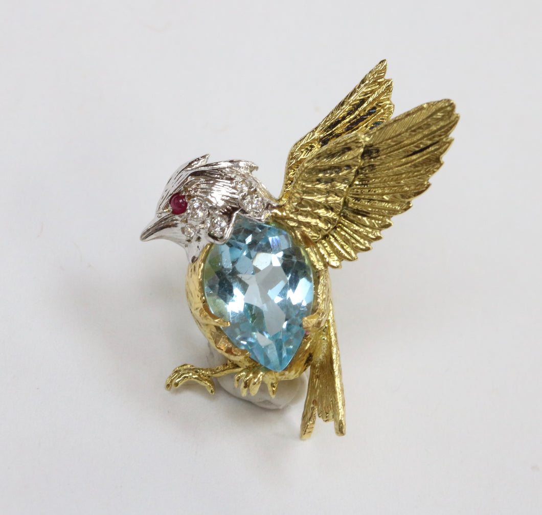 E. Wolfe & Co 18K Gold Diamond and Blue Topaz Bird Pin
