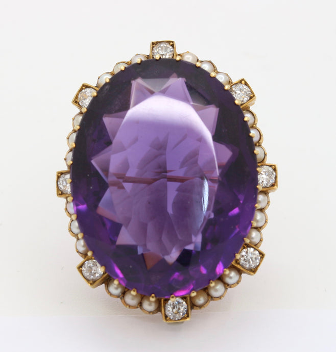 Victorian 51 Carat Amethyst Diamond and Pearl 15K Gold Pendant Brooch