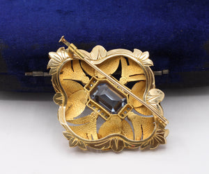 Art Deco 18K Gold Natural Spinel Diamond and Enamel Geometric Brooch - alpha-omega-jewelry