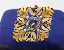 Load image into Gallery viewer, Art Deco 18K Gold Natural Spinel Diamond and Enamel Geometric Brooch - alpha-omega-jewelry