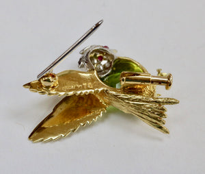 E. Wolfe & Co 18K Gold Diamond and Peridot Bird Pin