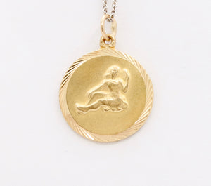 Vintage English 9K Gold Virgo Zodiac Charm Pendant