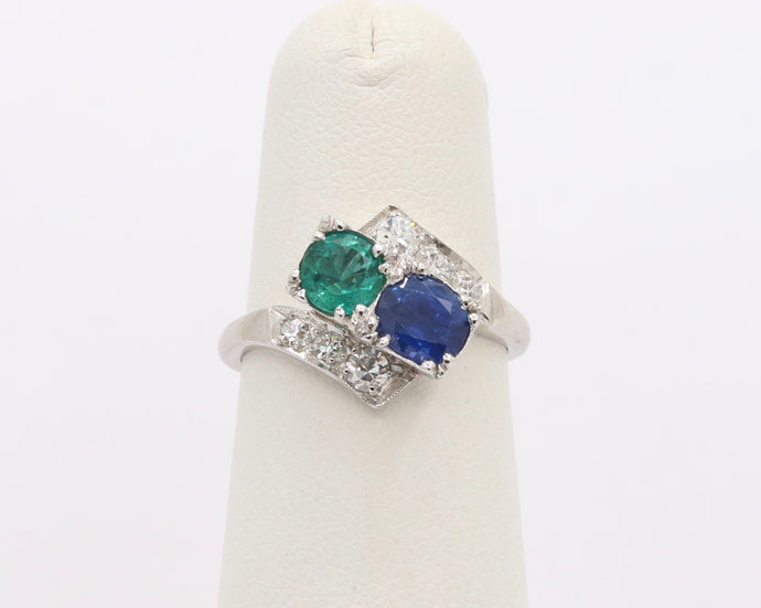 Midcentury Sapphire, Emerald and Diamond Bypass Platinum Ring