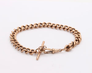 Antique 9K Rose Gold Curb Link Bracelet with Dog Clip