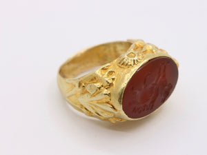 Vintage 18K Gold Agate Dragon Intaglio Ring