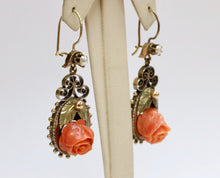 Load image into Gallery viewer, Victorian Carved Coral Rose 18K Gold Drop Dangling Antique Earrings