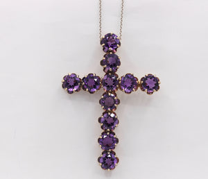 Vintage Victorian Revival Amethyst 14K Gold Cross Pendant - alpha-omega-jewelry