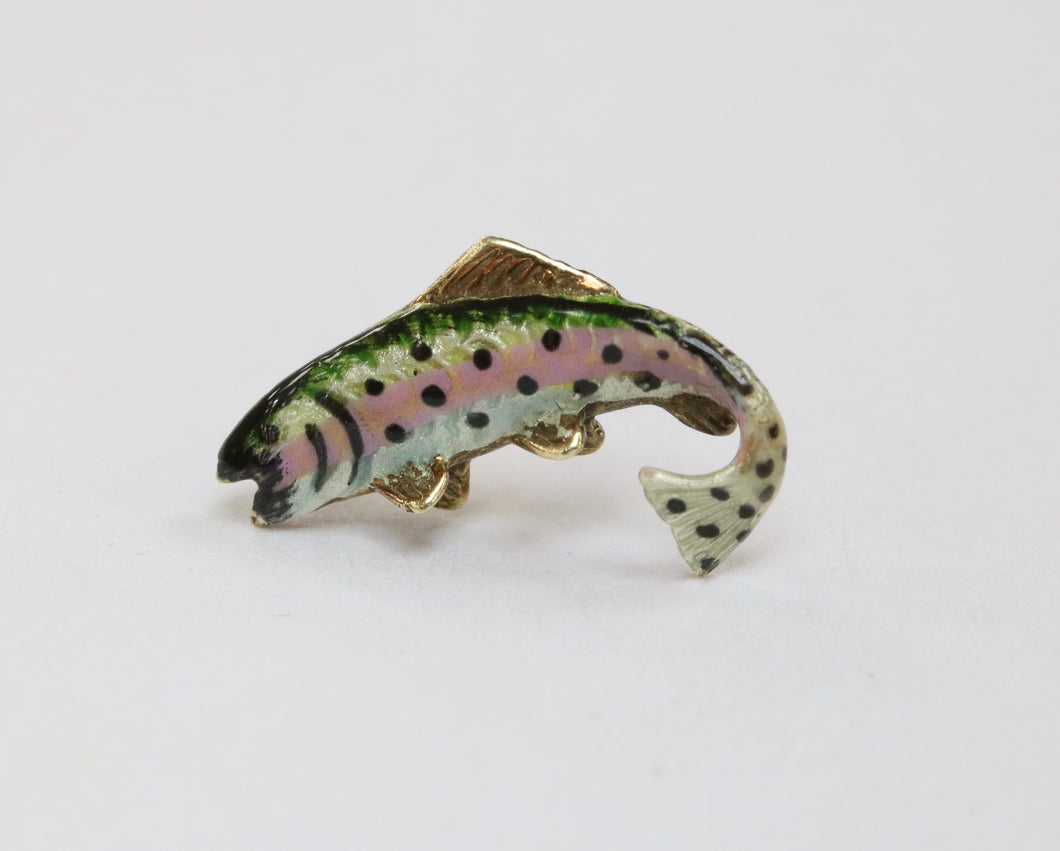 Vintage Tiffany & Co 14K Gold and Enamel Trout Fish Tie Tack Lapel Pin