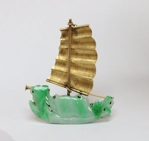 Vintage Carved Jadeite Jade Ship Sailboat 14K Gold Brooch