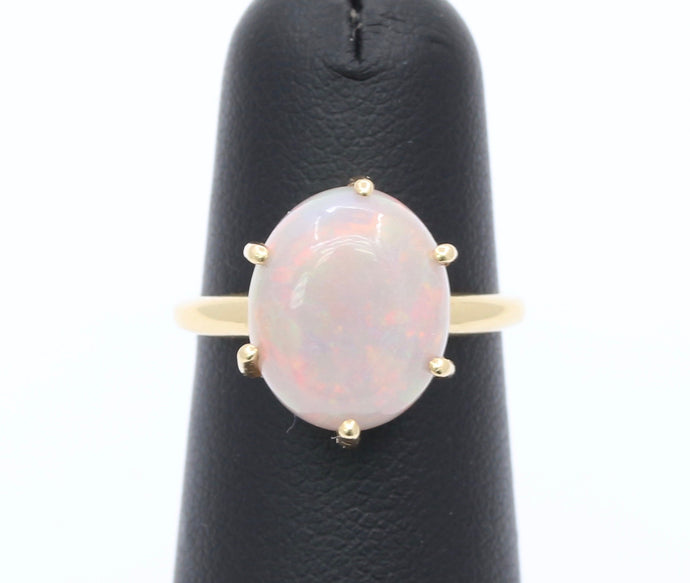Simple Australian Pink Opal and 14K Gold Solitaire Ring