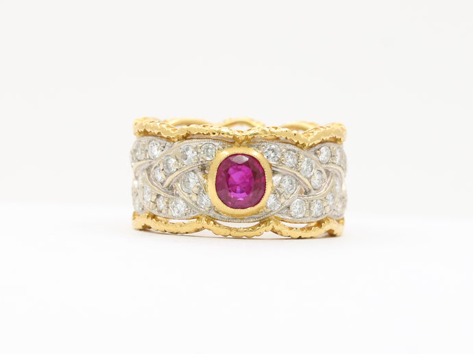 Vintage Buccellati 18K Gold and Platinum Ruby and Diamond Ring