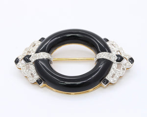 Vintage 18K Gold and Platinum Onyx and Diamond Circle Pin Brooch