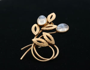 Vintage 14K Gold and Moonstone Abstract Floral Pin - alpha-omega-jewelry