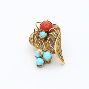 Victorian Coral Turquoise 14K Gold Spider Leaf Pin