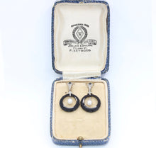 Load image into Gallery viewer, Edwardian Diamond Pearl and Onyx 14K Gold Hanging Earrings