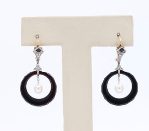 Edwardian Diamond Pearl and Onyx 14K Gold Hanging Earrings