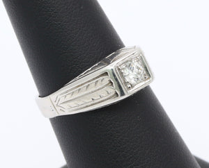 Art Deco Diamond and 14K White Gold Unisex Band Engagement Ring