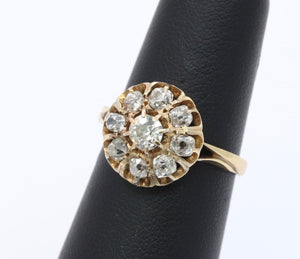 Victorian 1.5 Carat Diamond Cluster 14K Gold Engagement Ring
