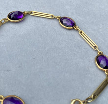 Load image into Gallery viewer, Art Deco 14K Gold Buff Top Amethyst Delicate Bar Bracelet