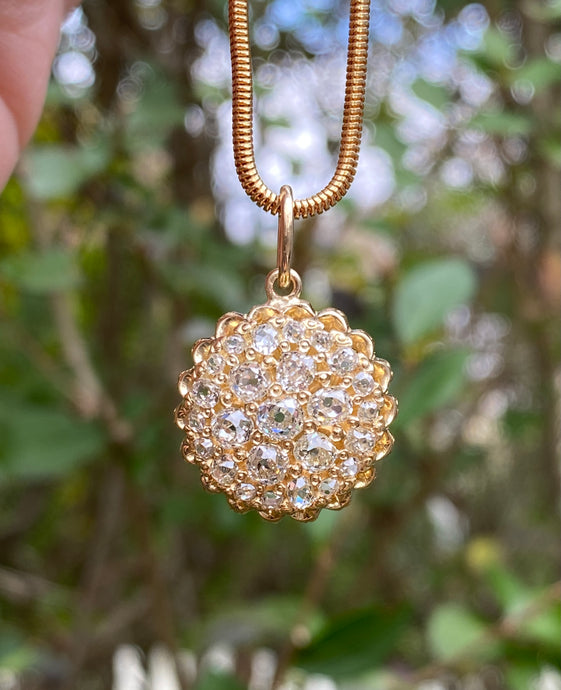 Victorian 18K Gold and 2.1 Carat Diamond Cluster Pendant