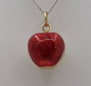 Vintage Red Enamel Puffy 14K Gold Apple Charm Pendant - alpha-omega-jewelry