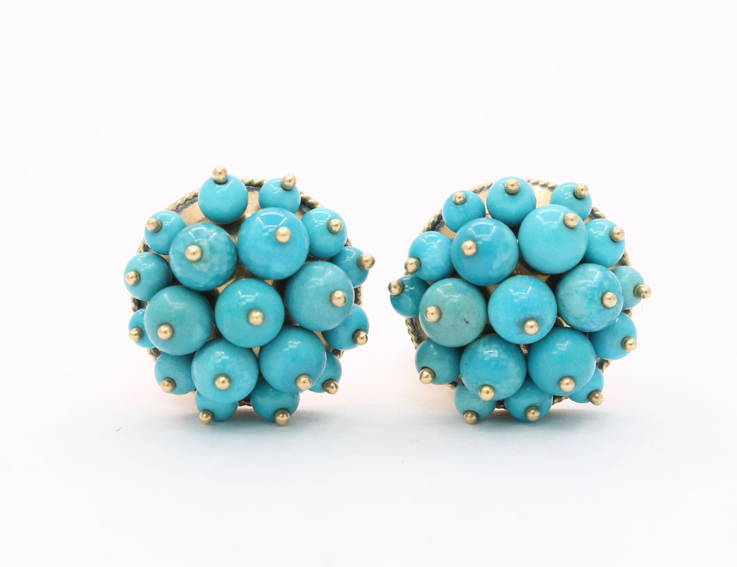 Vintage Natural Turquoise Cluster 14K Gold Clip Earrings