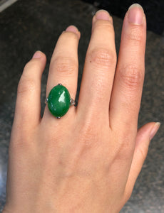 "Art Deco GIA Certified ""A"" Jadeite Jade Platinum and Diamond Ring - alpha-omega-jewelry"