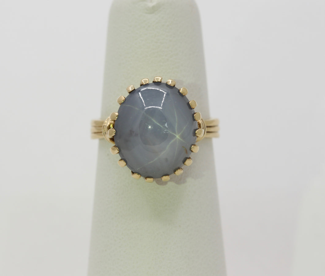 Vintage Natural Star Sapphire and 14K Gold Ring - alpha-omega-jewelry