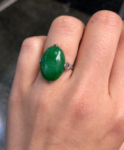 "Load image into Gallery viewer, Art Deco GIA Certified ""A"" Jadeite Jade Platinum and Diamond Ring - alpha-omega-jewelry"
