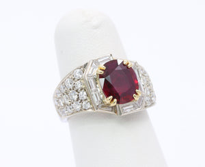 GIA Certified 1.8 Carat Ruby and 1.5 Carat Diamond 18K Gold Cocktail Dinner Ring