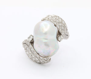 Vintage Baroque Pearl and 1 Carat Diamond Platinum Dinner Ring