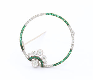 Edwardian 1.6 Carat Diamond & 1.1 Carat Emerald Platinum 18K Gold Circle Brooch