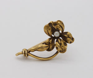 Art Nouveau Whiteside & Blank 14K Gold and Pearl Orchid Iris Flower Pin - alpha-omega-jewelry