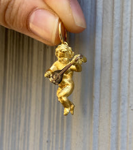 Load image into Gallery viewer, Heavy 18K Gold Angel Cherub Cupid Pendant Charm