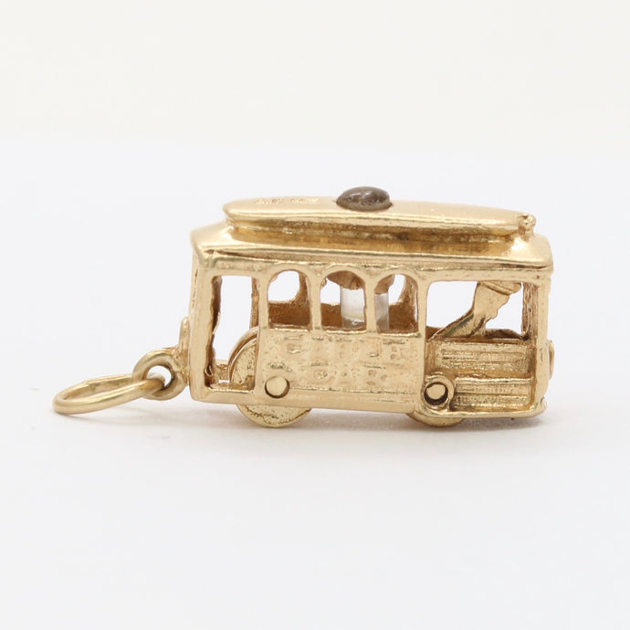 Vintage 14K Gold Articulated Trolley Cable Car Charm