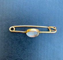 Load image into Gallery viewer, Vintage 14K Gold Moonstone Safety Pin Chain Extender Charm Holder